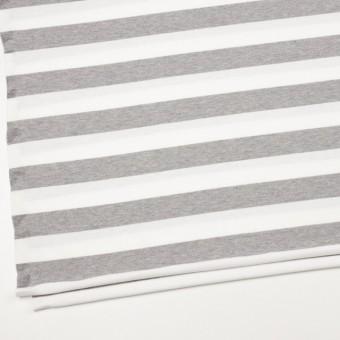 コットン×ボーダー(ホワイト&ライトグレー)×天竺ニット_全4色 サムネイル2