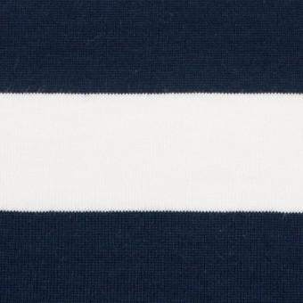 コットン×ボーダー(ホワイト&ダークネイビー)×天竺ニット_全4色 サムネイル1