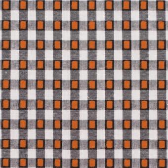 コットン×チェック(ホワイト&オレンジ、ブラック)×ドビーブロード サムネイル1