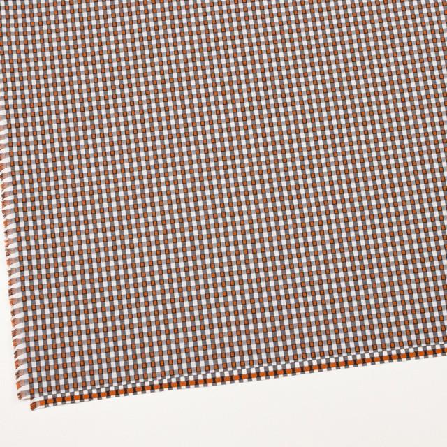 コットン×チェック(ホワイト&オレンジ、ブラック)×ドビーブロード イメージ2