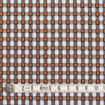 コットン×チェック(ホワイト&オレンジ、ブラック)×ドビーブロード サムネイル4