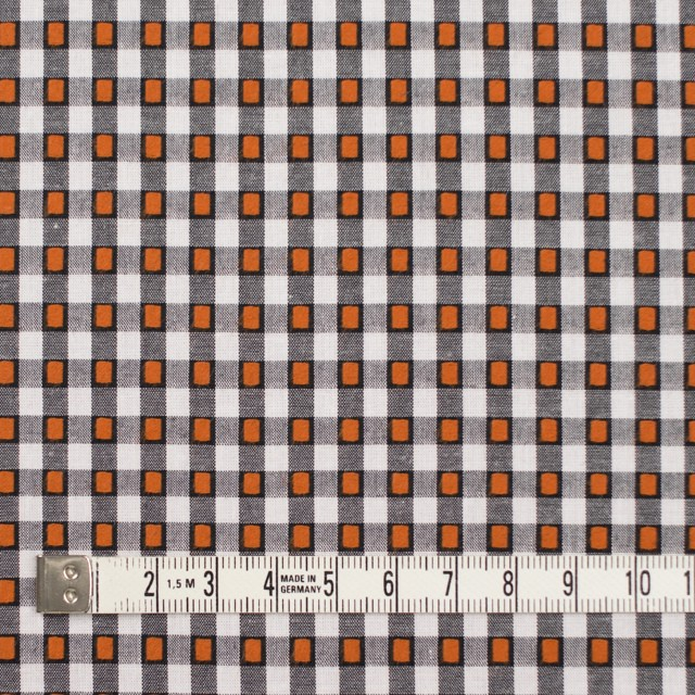 コットン×チェック(ホワイト&オレンジ、ブラック)×ドビーブロード イメージ4