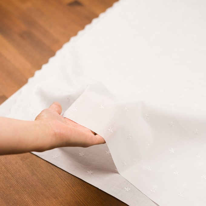 コットン×ボーダー(オフホワイト)×ローン刺繍No1_全2色 イメージ5