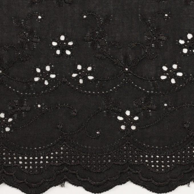 コットン×ボーダー(ブラック)×ローン刺繍No1_全2色 イメージ1