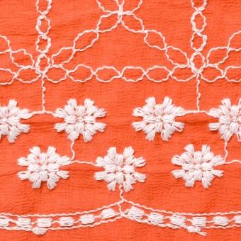 コットン×フラワー(オレンジ)×ヨウリュウ刺繍 サムネイル1