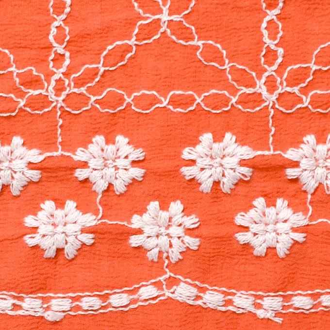 コットン×フラワー(オレンジ)×ヨウリュウ刺繍 イメージ1