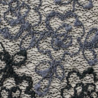 コットン&レーヨン混×フラワー(ダークミックス)×オーガンジー刺繍(着分) サムネイル1