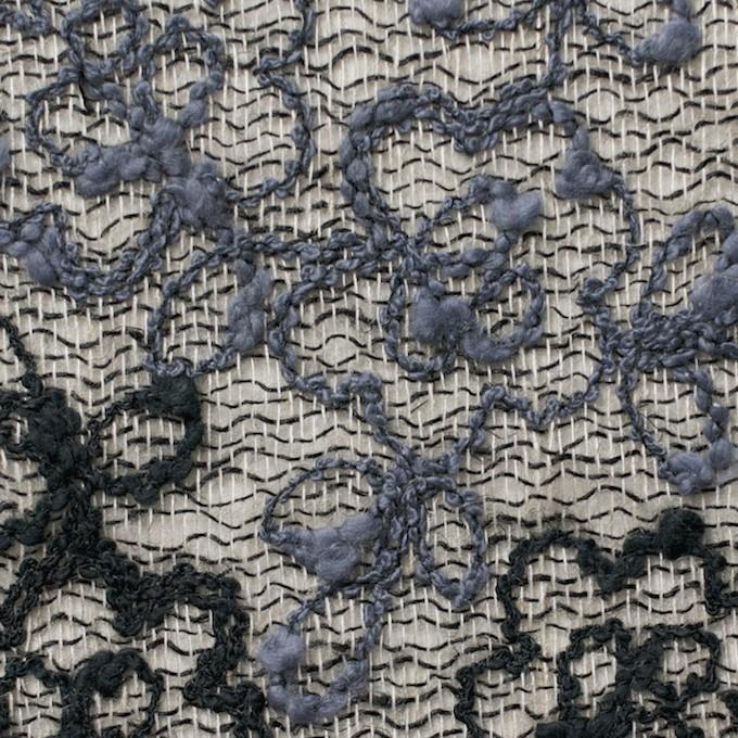コットン&レーヨン混×フラワー(ダークミックス)×オーガンジー刺繍(着分) イメージ1