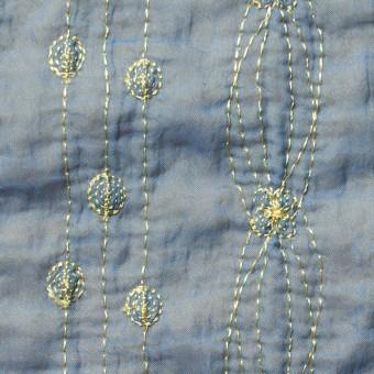 ポリエステル×幾何学模様(アクアブルー)×オーガンジー&ニット刺繍(着分) サムネイル1
