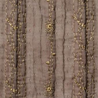 ポリエステル×幾何学模様(ミルクチョコ)×オーガンジー&チュール刺繍(着分) サムネイル1