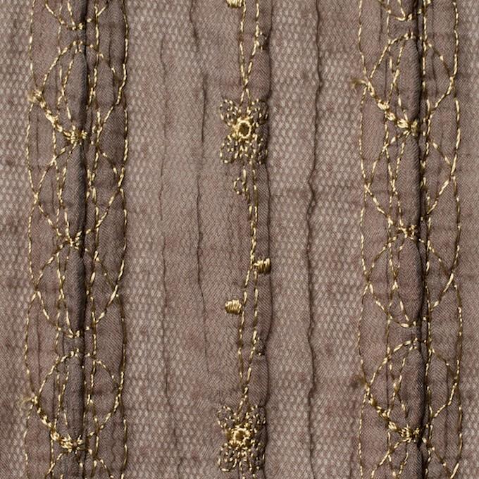 ポリエステル×幾何学模様(ミルクチョコ)×オーガンジー&チュール刺繍(着分) イメージ1