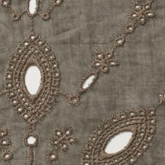 コットン×幾何学模様(カーキブラウン)×ボイル刺繍(着分) サムネイル1