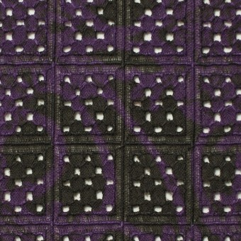 コットン×幾何学模様(パープルミックス)×ボイル刺繍(着分) サムネイル1