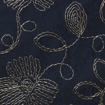 ポリエステル×フラワー(ダークネイビー)×タフタ刺繍 サムネイル1