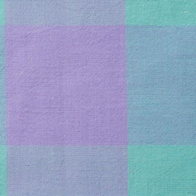コットン&リネン×ブロックチェック(エメラルドグリーン)×シーチングワッシャー_全3色 イメージ1