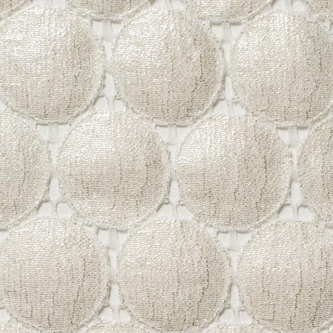キュプラ&ナイロン×輪模様(オフホワイト+シルバーラメ箔)×ラッセルレース_全2色 イメージ1