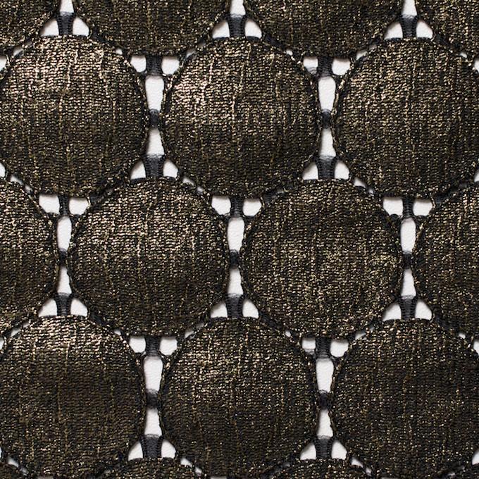 キュプラ&ナイロン×輪模様(ブラック+ゴールドラメ箔)×ラッセルレース_全2色 イメージ1