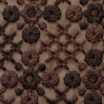 ポリエステル×フラワー(ダークブラウン)×ジョーゼット刺繍 サムネイル1