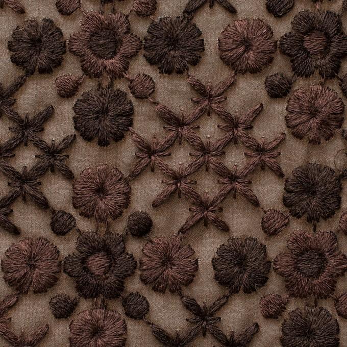 ポリエステル×フラワー(ダークブラウン)×ジョーゼット刺繍 イメージ1