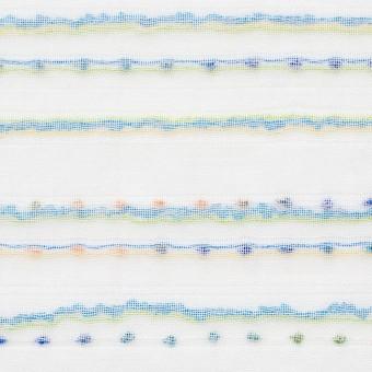 コットン&ポリエステル×ボーダー(イエローグリーン&ターコイズ)×Wガーゼ_全4色 サムネイル1