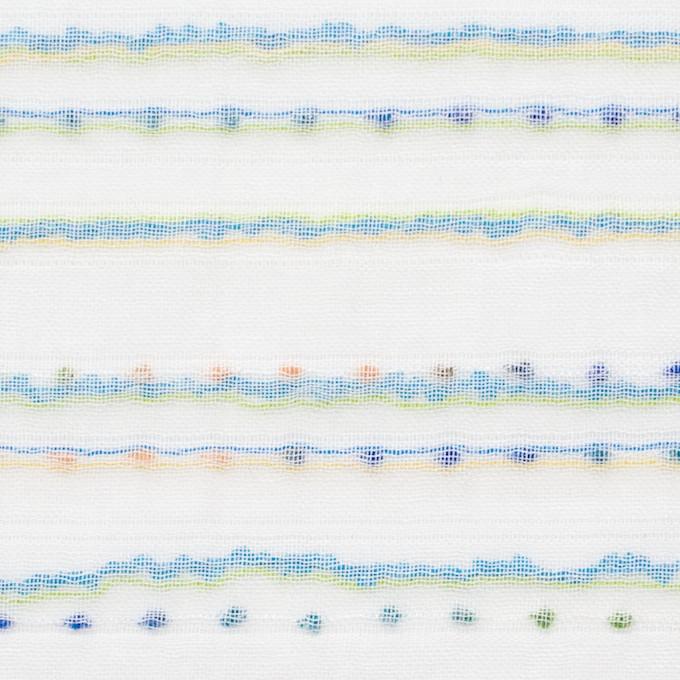 コットン&ポリエステル×ボーダー(イエローグリーン&ターコイズ)×Wガーゼ_全4色 イメージ1