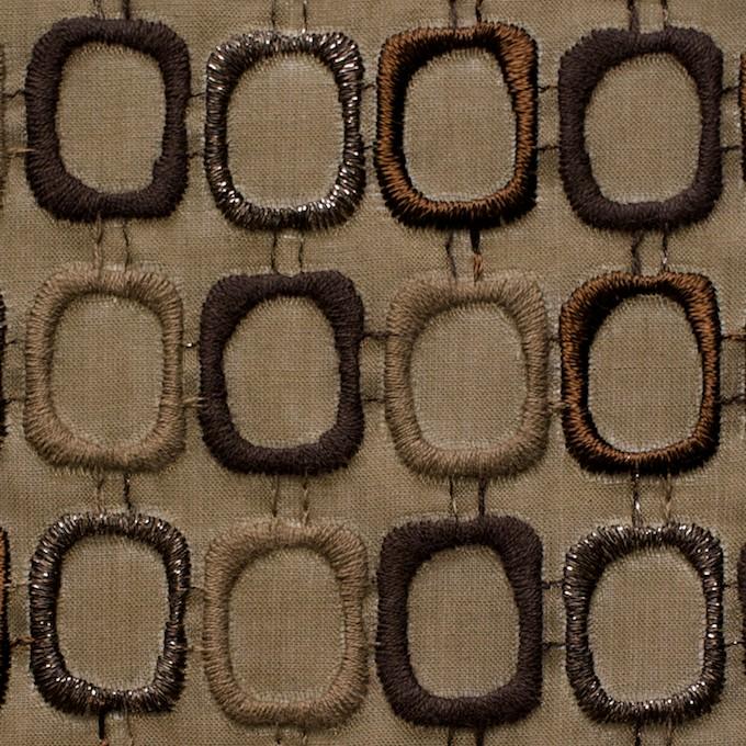 コットン×スクエア(カーキブラウン)×ボイル刺繍_全2色 イメージ1