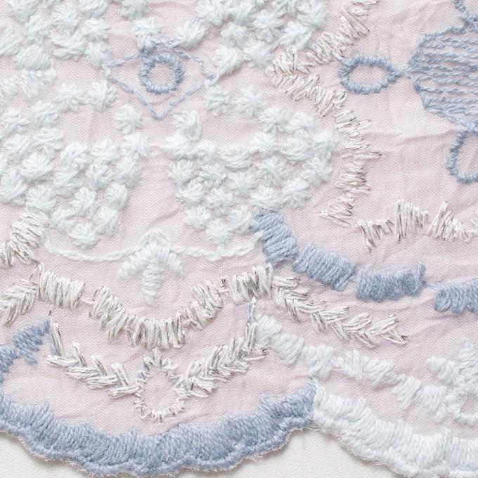 コットン×フラワー(グレイッシュピンク)×ボイル刺繍_全4色 イメージ1