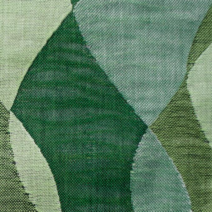 コットン×幾何学模様(グリーンミックス)×二重織ジャガード イメージ1