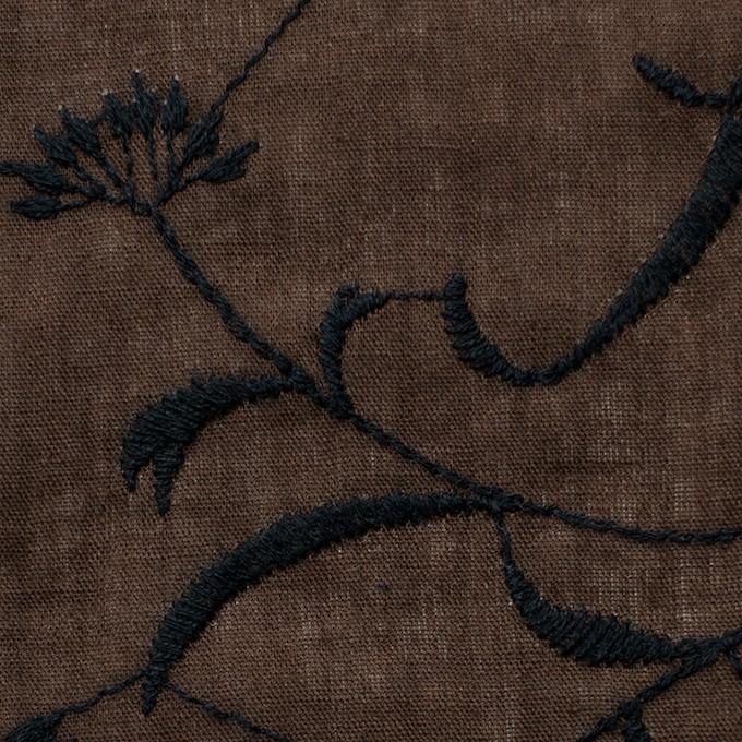 コットン&リネン×フラワー(ブラウン)×薄シーチング刺繍_全3色 イメージ1