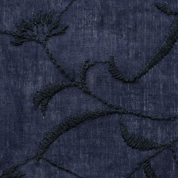 コットン&リネン×フラワー(ネイビー)×薄シーチング刺繍_全3色 イメージ1