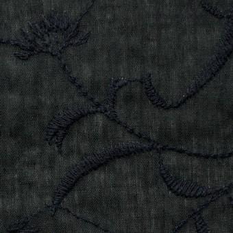 コットン&リネン×フラワー(ブラック)×薄シーチング刺繍_全3色 サムネイル1