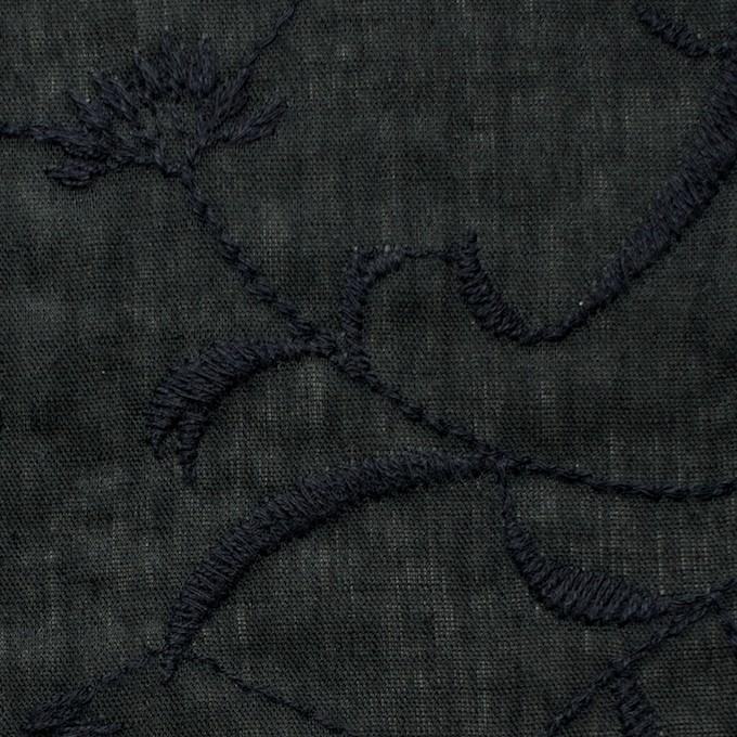 コットン&リネン×フラワー(ブラック)×薄シーチング刺繍_全3色 イメージ1