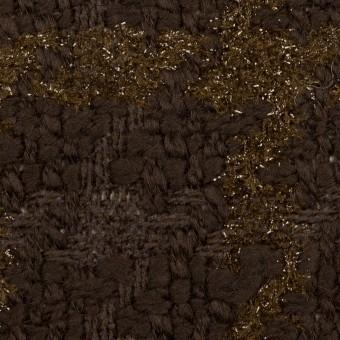 【150cmカット】ウール&ポリアミド混×格子(ブラウンミックス)×ファンシーツイード_イタリア製