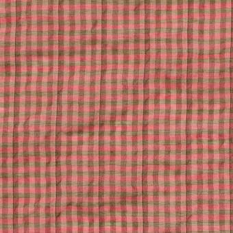 コットン&ポリウレタン×チェック(パーシモン&カーキ)×ボイルシャーリング_全3色 サムネイル1