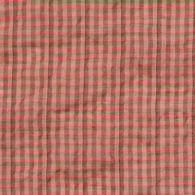 コットン&ポリウレタン×チェック(パーシモン&カーキ)×ボイルシャーリング_全3色 イメージ1
