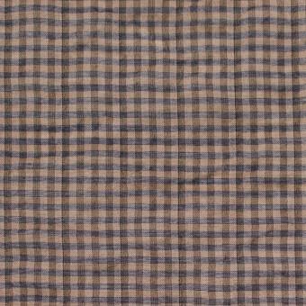 コットン&ポリウレタン×チェック(モカブラウン&ネイビー)×ボイルシャーリング_全3色 サムネイル1