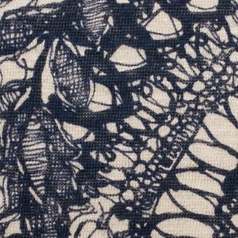 リネン×幾何学模様(キナリ&ネイビー)×天竺ニット_全2色 サムネイル1