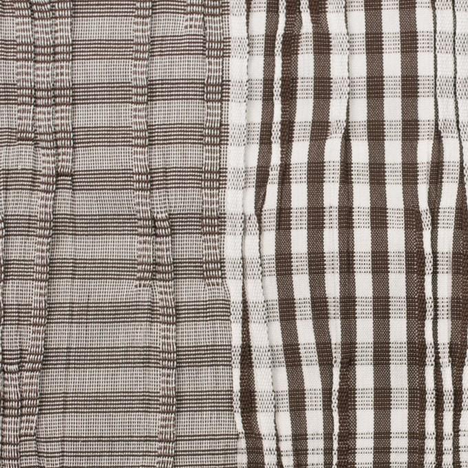 コットン&ナイロン混×チェック(ブラウン)×タテタック イメージ1
