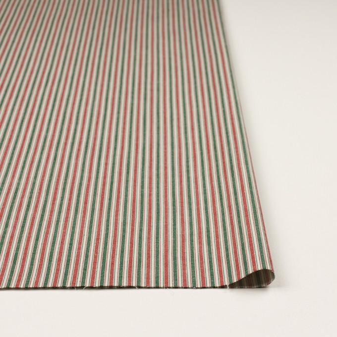コットン&ポリウレタン×ストライプ(レッド&グリーン)×かわり織 イメージ3