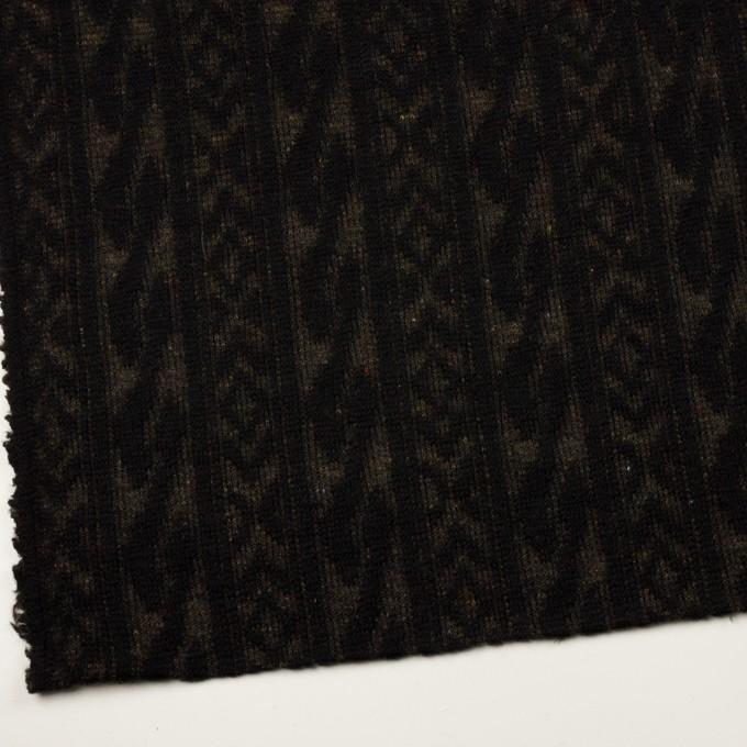 ウール&ポリエステル×幾何学模様(ブラック&ダークブラウン)×ジャガードニット_イタリア製 イメージ2