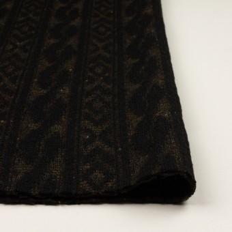 ウール&ポリエステル×幾何学模様(ブラック&ダークブラウン)×ジャガードニット_イタリア製 サムネイル3
