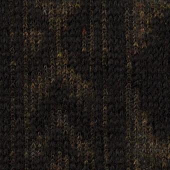 【150cmカット】ウール&ポリエステル×幾何学模様(ブラック&ダークブラウン)×ジャガードニット_イタリア製