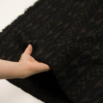 ウール&ポリエステル×幾何学模様(ブラック&ダークブラウン)×ジャガードニット_イタリア製 サムネイル5