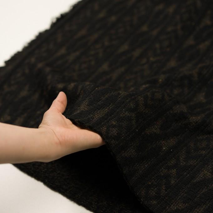 ウール&ポリエステル×幾何学模様(ブラック&ダークブラウン)×ジャガードニット_イタリア製 イメージ5