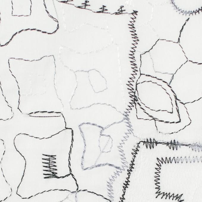 コットン×幾何学模様(ホワイト)×ローン刺繍_全3色_イタリア製 イメージ1