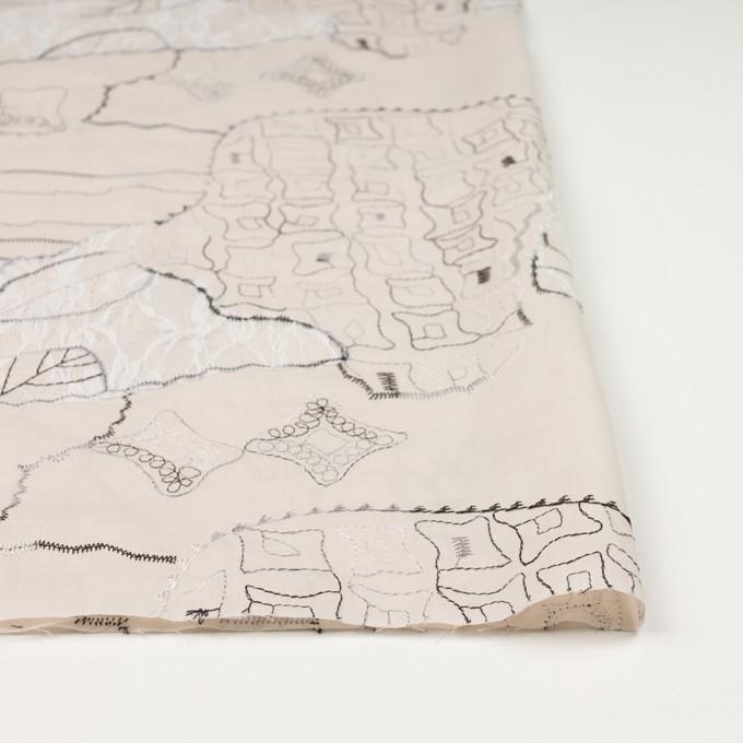 コットン×幾何学模様(ウォームベージュ)×ローン刺繍_全3色_イタリア製 イメージ3