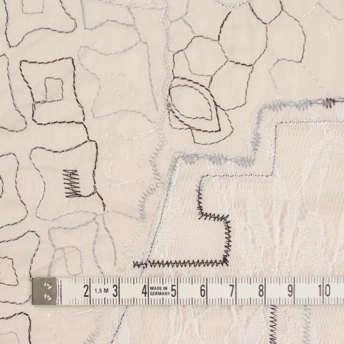 コットン×幾何学模様(ウォームベージュ)×ローン刺繍_全3色_イタリア製 イメージ4