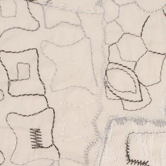 コットン×幾何学模様(ウォームベージュ)×ローン刺繍_全3色_イタリア製 サムネイル1