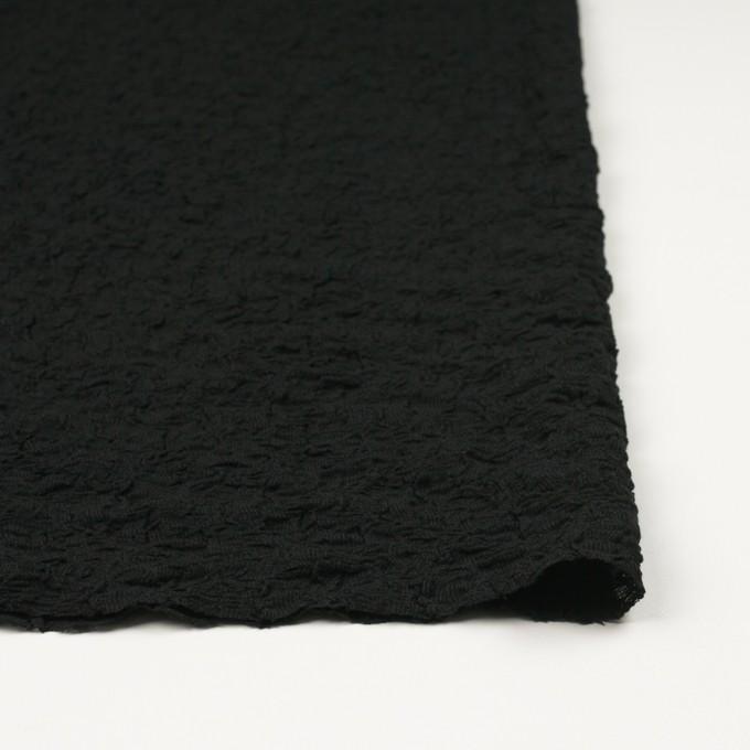 コットン&ナイロン混×無地(ブラック)×シャーリングメッシュニット_全4色 イメージ3