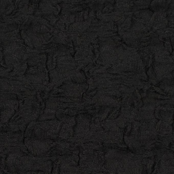 コットン&ナイロン混×無地(ブラック)×シャーリングメッシュニット_全4色 イメージ1